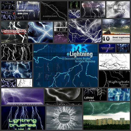 30 Sets of High-Quality, Free Lightning Photoshop Brushes