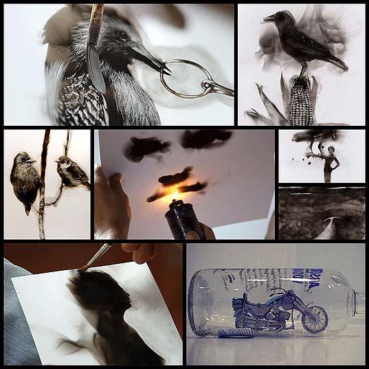 火で炙ったススで描くファイヤーペインティング(7枚)