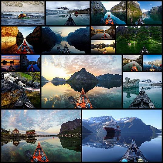 ノルウェーの湖上・海上のカヤックから撮影された美しい風景写真(18枚)