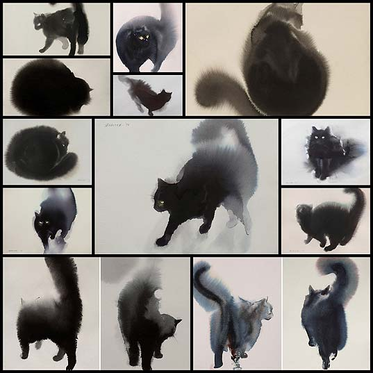 watercolor-black-cats-ink-paitings-endre-penovac12