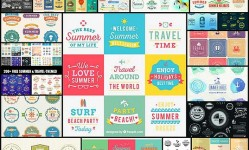 200+-Vector-Summer-Logos,-Badges-and-Labels