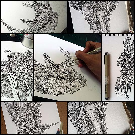 Intricate-Pen-Drawings-Beautifully-Combine-Animals-with-Nature---My-Modern-Met