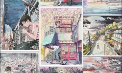 Bicycle-Boy-Watercolor-Series-Inspired-by-Studio-Ghibli-«TwistedSifter