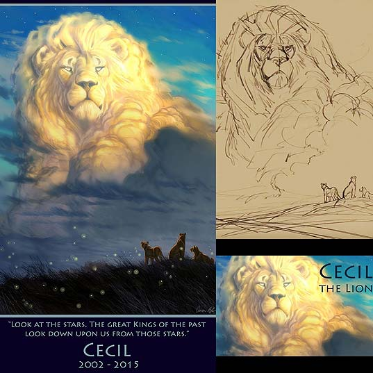 'Lion-King'-Artist-Paints-Majestic-Tribute-To-Cecil-The-Lion--Bored-Panda