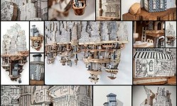 21-Clever-Combinations-of-Illustrations-and-Wood-Carvings-Create-Extraordinary-Miniature-Cities---My-Modern-Met