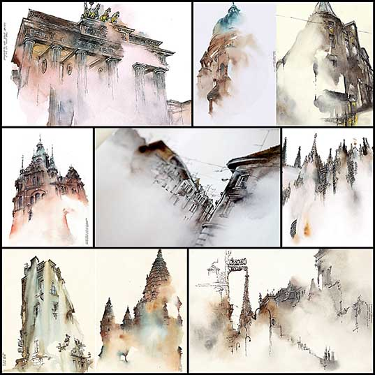Dreamy New Architectural Watercolors by Artist Sunga Park  Colossal