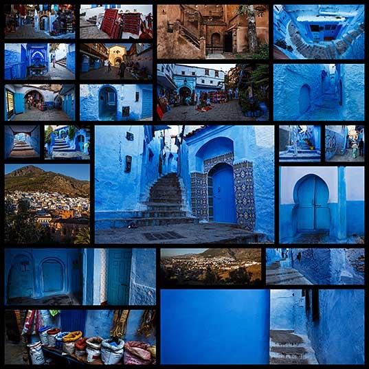 モロッコの物語。 青の50の色合い