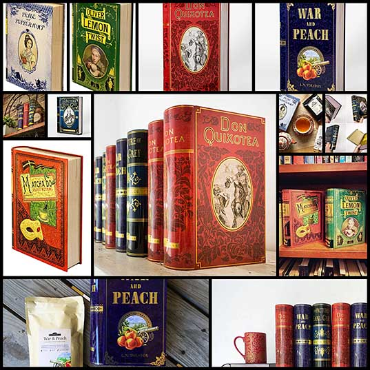 13 Book-Shaped Tea Tins by NovelTeas Cleverly Reference Classic Novels