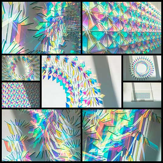 Dichroic Glass Installations by Chris Wood Reflect Light in a Rainbow of Color Colossal