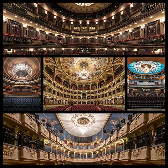Symmetrical Architectural Photography Highlights Budapest's Theaters