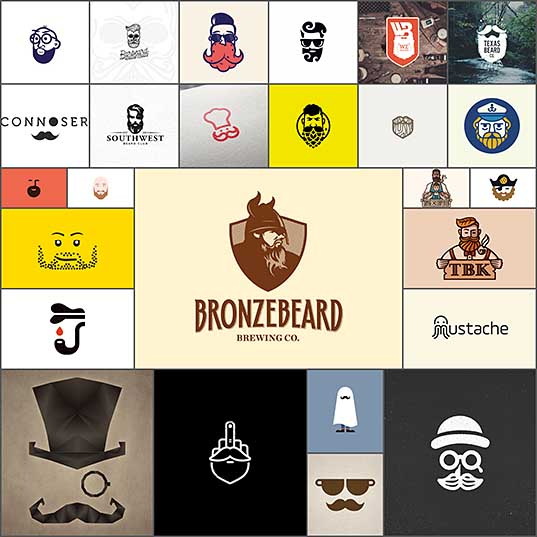 28 Beard & Stache Logos Creativeoverflow