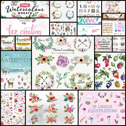 Watercolor Design Elements for Creating Trendy Print and Web Graphics