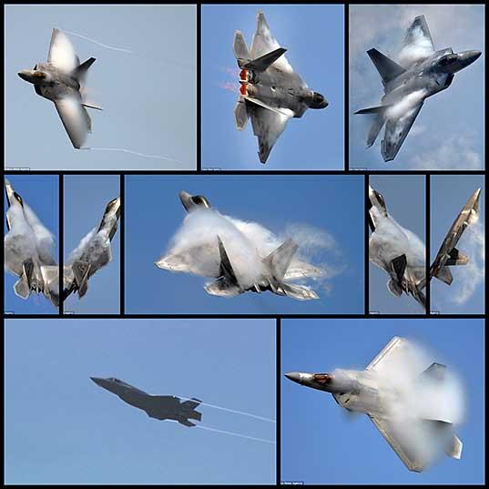Потрясающие снимки истребителя F-22, совершающего головокружительные маневры