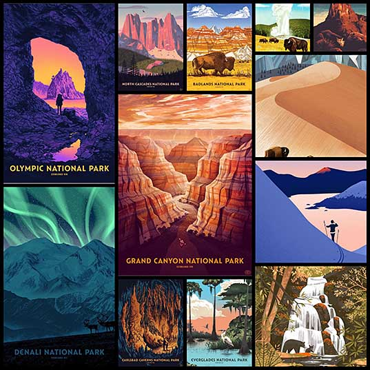 Retro National Park Posters Celebrate Diversity of America's Parks