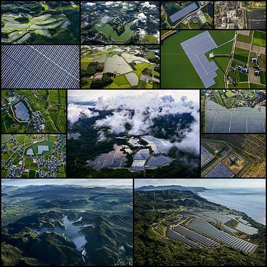 Солнечные электростанции в Японии с высоты птичьего полета