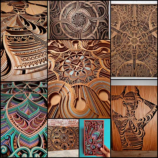8 Cut Plywood Relief Sculptures Embedded with Mandalas and Geometric Patterns by Gabriel Schama Colossal