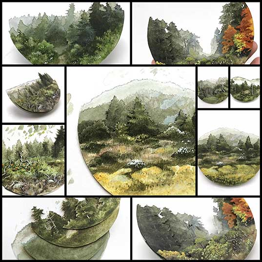 Artist Creates Demi-Sphere Watercolor Paintings of Enchanting Forests