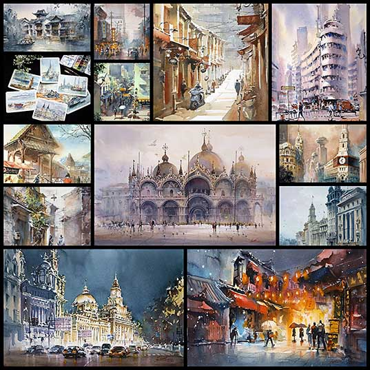 Artist's Spectacular Watercolor Paintings Illustrate Cities all Over the World