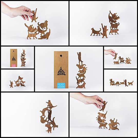 Wooden Cat Pile Game is Like Jenga, But With Felines Instead
