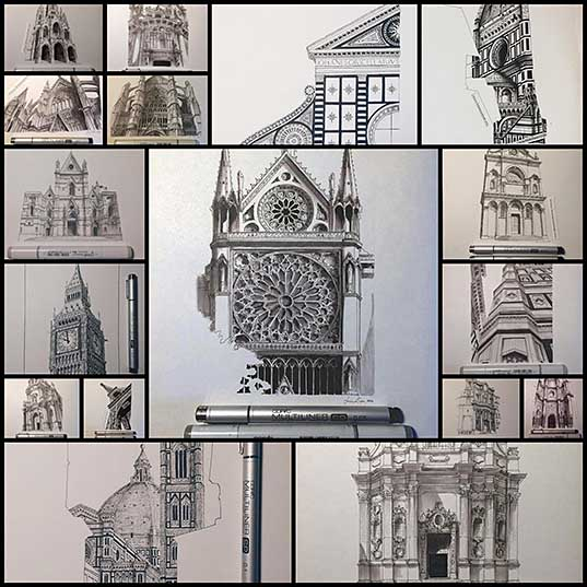Incredible Miniature Architectural Drawings by Lorenzo Concas