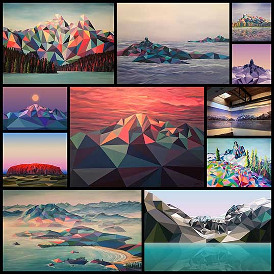 11 Polygon Landscape Paintings Highlight the Geometry of Mountains