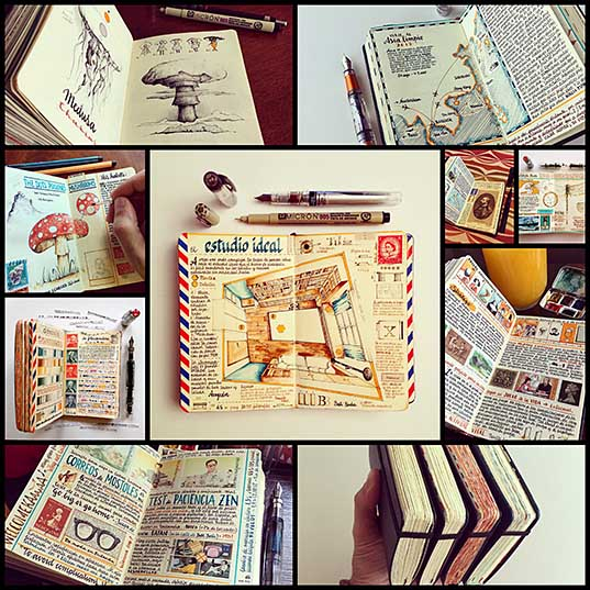 Handmade Sketchbooks Teeming with Colorful Calligraphy, Diagrams, Sketches, and Travel Ephemera by José Naranja Colossal