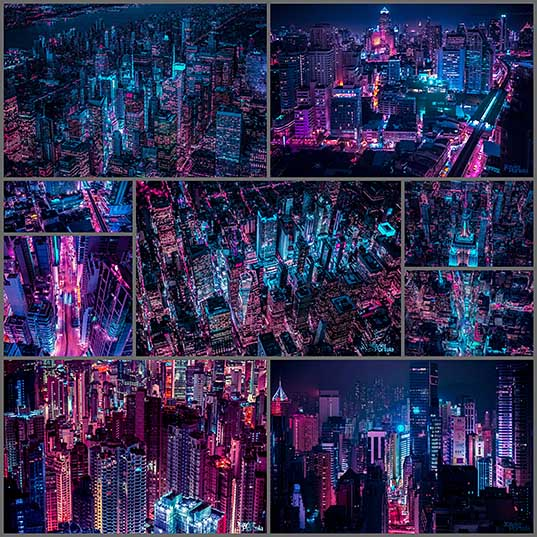 Aerial Explorations of International Cityscapes Washed in a Neon Glow by Xavier Portela Colossal