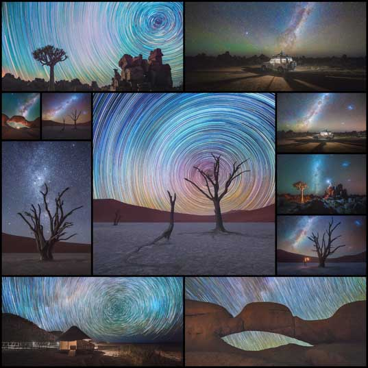 Long Exposure Photography Captures Star Trails Above the Namib Desert