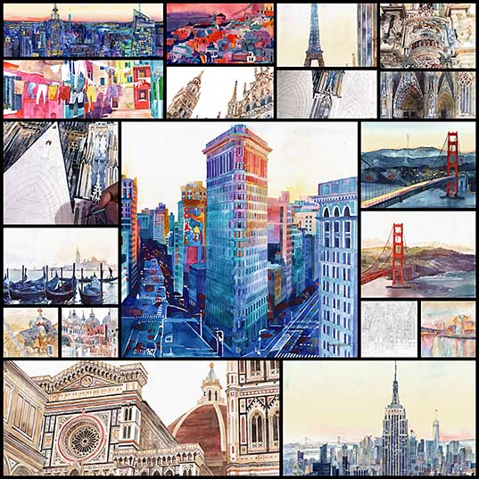 Colorful Architectural Watercolors of International Cities by Maja Wroń