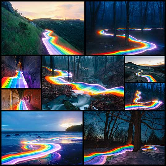 9 Vivid Rainbow Roads Trace Illuminated Pathways Across Forests and Beaches Colossal