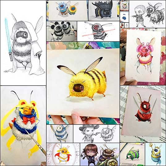 Artist Paints Iconic Movie And Cartoon Characters As Bees, And The Result Is Extremely Cute Bored Panda