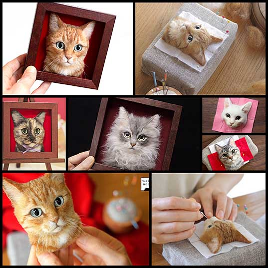 Uncanny Portraits of Cats Crafted with Realistic Glass Eyes and Felted Wool Colossal