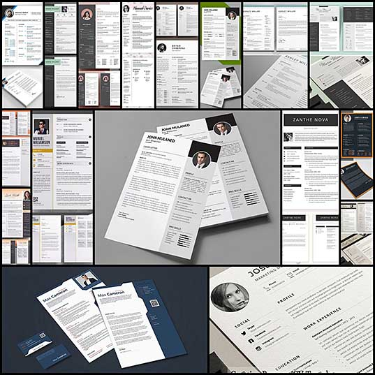 15 Awesome & Creative Resume Templates With Cover Letter PSD Files Design Blog